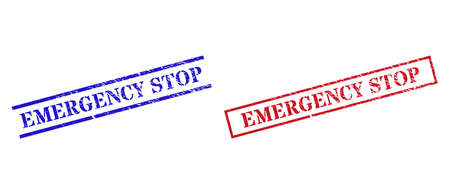 Grunge EMERGENCY STOP rubber stamps in red and blue colors. Stamps have draft style. Vector rubber imitations with EMERGENCY STOP phrase inside rectangle frame, or parallel lines.