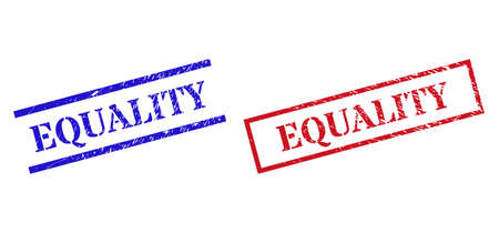 Grunge EQUALITY rubber stamps in red and blue colors. Stamps have rubber style. Vector rubber imitations with EQUALITY badge inside rectangle frame, or parallel lines.