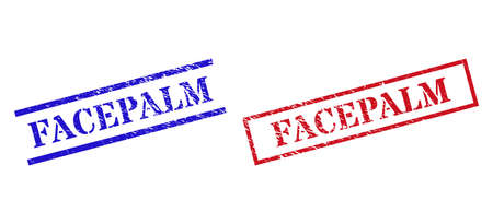 Grunge FACEPALM rubber stamps in red and blue colors. Stamps have rubber texture. Vector rubber imitations with FACEPALM caption inside rectangle frame, or parallel lines.