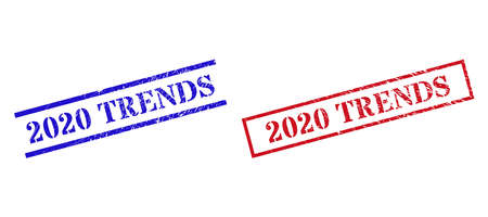 Grunge 2020 TRENDS rubber stamps in red and blue colors. Seals have rubber style. Vector rubber imitations with 2020 TRENDS caption inside rectangle frame, or parallel lines.