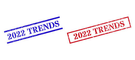 Grunge 2022 TRENDS rubber stamps in red and blue colors. Stamps have distress style. Vector rubber imitations with 2022 TRENDS phrase inside rectangle frame, or parallel lines.