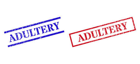 Grunge ADULTERY rubber stamps in red and blue colors. Stamps have draft style. Vector rubber imitations with ADULTERY text inside rectangle frame, or parallel lines.