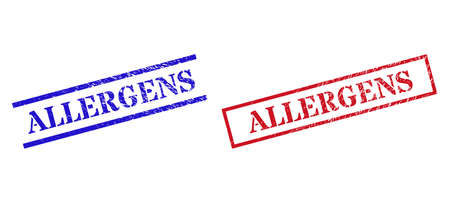 Grunge ALLERGENS rubber stamps in red and blue colors. Stamps have draft surface. Vector rubber imitations with ALLERGENS label inside rectangle frame, or parallel lines.
