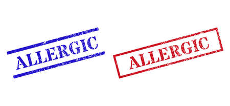 Grunge ALLERGIC rubber stamps in red and blue colors. Seals have rubber style. Vector rubber imitations with ALLERGIC text inside rectangle frame, or parallel lines.