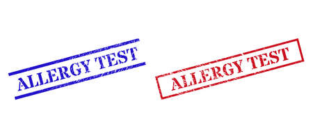 Grunge ALLERGY TEST rubber stamps in red and blue colors. Stamps have rubber texture. Vector rubber imitations with ALLERGY TEST caption inside rectangle frame, or parallel lines.
