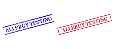 Grunge ALLERGY TESTING stamp seals in red and blue colors. Seals have rubber surface. Vector rubber imitations with ALLERGY TESTING caption inside rectangle frame, or parallel lines.