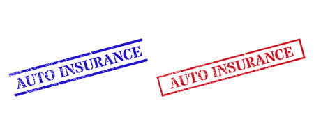 Grunge AUTO INSURANCE rubber stamps in red and blue colors. Stamps have rubber surface. Vector rubber imitations with AUTO INSURANCE text inside rectangle frame, or parallel lines. Иллюстрация