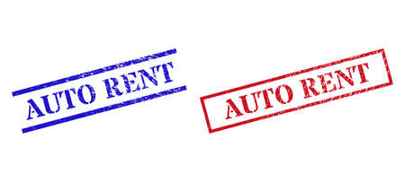Grunge AUTO RENT rubber stamps in red and blue colors. Stamps have rubber style. Vector rubber imitations with AUTO RENT tag inside rectangle frame, or parallel lines. Design style uses dirty surface.