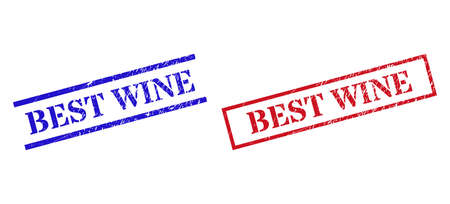 Grunge BEST WINE seal stamps in red and blue colors. Stamps have rubber surface. Vector rubber imitations with BEST WINE tag inside rectangle frame, or parallel lines.