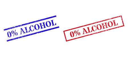 Grunge 0% ALCOHOL stamp seals in red and blue colors. Seals have distress texture. Vector rubber imitations with 0% ALCOHOL tag inside rectangle frame, or parallel lines.