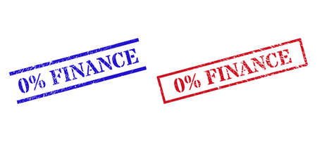 Grunge 0% FINANCE rubber stamps in red and blue colors. Stamps have distress style. Vector rubber imitations with 0% FINANCE label inside rectangle frame, or parallel lines.