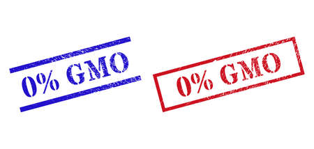 Grunge 0% GMO rubber stamps in red and blue colors. Seals have rubber texture. Vector rubber imitations with 0% GMO caption inside rectangle frame, or parallel lines. Design style uses grunge texture. Ilustrace