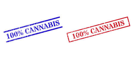 Grunge 100% CANNABIS stamp seals in red and blue colors. Seals have rubber style. Vector rubber imitations with 100% CANNABIS tag inside rectangle frame, or parallel lines.