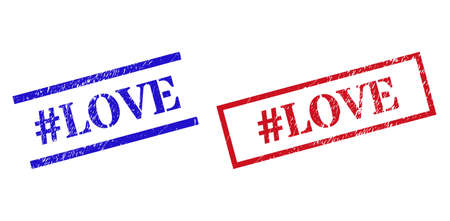 Grunge #LOVE rubber stamps in red and blue colors. Stamps have distress surface. Vector rubber imitations with #LOVE caption inside rectangle frame, or parallel lines.