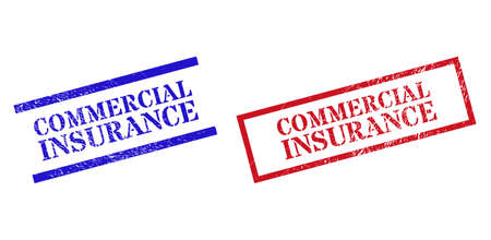 Grunge COMMERCIAL INSURANCE rubber stamps in red and blue colors. Stamps have rubber style. Vector rubber imitations with COMMERCIAL INSURANCE label inside rectangle frame, or parallel lines.