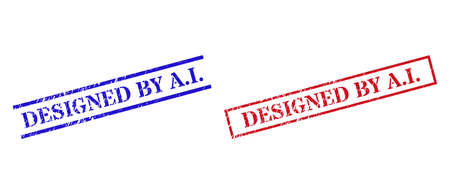 Grunge DESIGNED BY A.I. rubber stamps in red and blue colors. Seals have rubber style. Vector rubber imitations with DESIGNED BY A.I. phrase inside rectangle frame, or parallel lines.