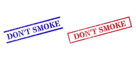 Grunge DONT SMOKE stamp seals in red and blue colors. Seals have rubber style. Vector rubber imitations with DONT SMOKE phrase inside rectangle frame, or parallel lines.
