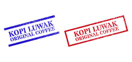 Grunge KOPI LUWAK ORIGINAL COFFEE rubber stamps in red and blue colors. Stamps have rubber style. Vector rubber imitations with KOPI LUWAK ORIGINAL COFFEE text inside rectangle frame,