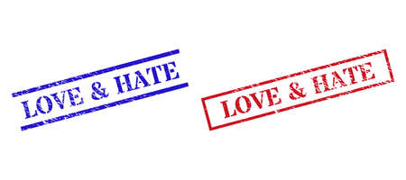 Grunge LOVE & HATE stamp watermarks in red and blue colors. Seals have rubber style. Vector rubber imitations with LOVE & HATE badge inside rectangle frame, or parallel lines.