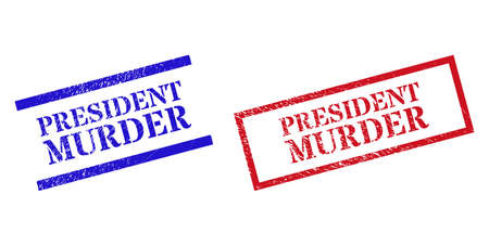 Grunge PRESIDENT MURDER stamp watermarks in red and blue colors. Stamps have rubber style. Vector rubber imitations with PRESIDENT MURDER tag inside rectangle frame, or parallel lines.