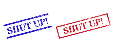 Grunge SHUT UP! stamp seals in red and blue colors. Seals have rubber surface. Vector rubber imitations with SHUT UP! badge inside rectangle frame, or parallel lines.