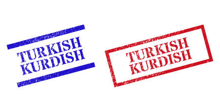 Grunge TURKISH KURDISH rubber stamps in red and blue colors. Stamps have rubber texture. Vector rubber imitations with TURKISH KURDISH text inside rectangle frame, or parallel lines.