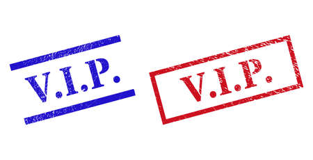 Grunge V.I.P. rubber stamps in red and blue colors. Stamps have draft texture. Vector rubber imitations with V.I.P. caption inside rectangle frame, or parallel lines. Design style uses unclean effect.