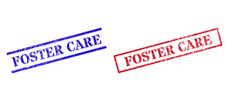 Grunge FOSTER CARE rubber stamps in red and blue colors. Stamps have distress style. Vector rubber imitations with FOSTER CARE text inside rectangle frame, or parallel lines.