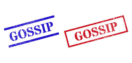 Grunge GOSSIP rubber stamps in red and blue colors. Stamps have distress texture. Vector rubber imitations with GOSSIP tag inside rectangle frame, or parallel lines. Design style uses grunge texture.