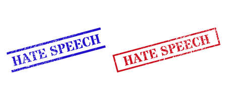 Grunge HATE SPEECH stamp watermarks in red and blue colors. Seals have rubber style. Vector rubber imitations with HATE SPEECH text inside rectangle frame, or parallel lines.