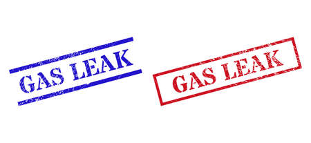 Grunge GAS LEAK rubber stamps in red and blue colors. Stamps have rubber style. Vector rubber imitations with GAS LEAK label inside rectangle frame, or parallel lines. Ilustração