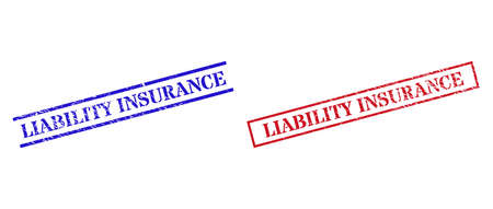 Grunge LIABILITY INSURANCE rubber stamps in red and blue colors. Stamps have rubber surface. Vector rubber imitations with LIABILITY INSURANCE label inside rectangle frame, or parallel lines.