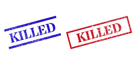 Grunge KILLED rubber stamps in red and blue colors. Stamps have draft surface. Vector rubber imitations with KILLED badge inside rectangle frame, or parallel lines.