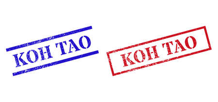 Grunge KOH TAO stamp watermarks in red and blue colors. Seals have rubber surface. Vector rubber imitations with KOH TAO tag inside rectangle frame, or parallel lines. 矢量图像