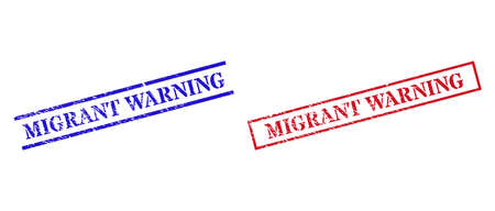 Grunge MIGRANT WARNING rubber stamps in red and blue colors. Stamps have rubber surface. Vector rubber imitations with MIGRANT WARNING caption inside rectangle frame, or parallel lines. Vector Illustration