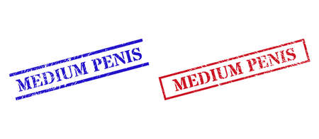 Grunge MEDIUM PENIS seal stamps in red and blue colors. Stamps have draft surface. Vector rubber imitations with MEDIUM PENIS badge inside rectangle frame, or parallel lines. Ilustração