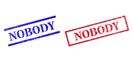 Grunge NOBODY stamp seals in red and blue colors. Seals have rubber texture. Vector rubber imitations with NOBODY caption inside rectangle frame, or parallel lines.