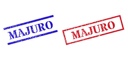 Grunge MAJURO seal stamps in red and blue colors. Stamps have rubber surface. Vector rubber imitations with MAJURO badge inside rectangle frame, or parallel lines.
