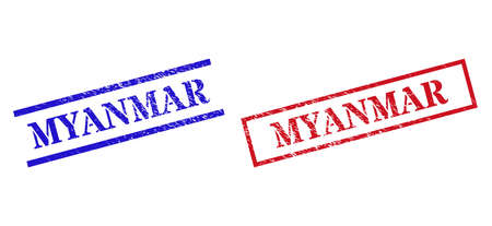 Grunge MYANMAR rubber stamps in red and blue colors. Stamps have draft style. Vector rubber imitations with MYANMAR tag inside rectangle frame, or parallel lines. Design style imitates unclean effect.