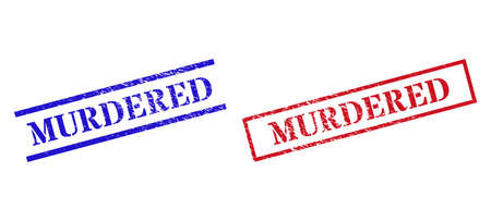 Grunge MURDERED stamp seals in red and blue colors. Seals have rubber style. Vector rubber imitations with MURDERED badge inside rectangle frame, or parallel lines. Illusztráció