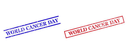 Grunge WORLD CANCER DAY rubber stamps in red and blue colors. Stamps have draft style. Vector rubber imitations with WORLD CANCER DAY label inside rectangle frame, or parallel lines.