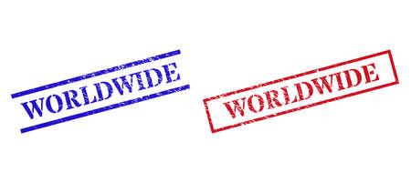 Grunge WORLDWIDE rubber stamps in red and blue colors. Stamps have draft texture. Vector rubber imitations with WORLDWIDE caption inside rectangle frame, or parallel lines.