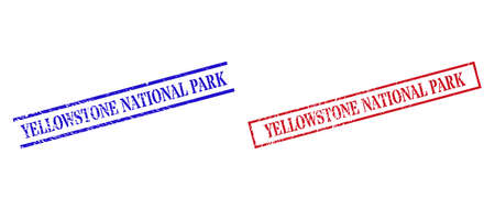 Grunge YELLOWSTONE NATIONAL PARK rubber stamps in red and blue colors. Seals have rubber style. Vector rubber imitations with YELLOWSTONE NATIONAL PARK label inside rectangle frame, or parallel lines.