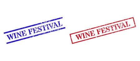 Grunge WINE FESTIVAL rubber stamps in red and blue colors. Seals have rubber surface. Vector rubber imitations with WINE FESTIVAL phrase inside rectangle frame, or parallel lines. Illusztráció