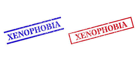 Grunge XENOPHOBIA rubber stamps in red and blue colors. Stamps have rubber surface. Vector rubber imitations with XENOPHOBIA phrase inside rectangle frame, or parallel lines.