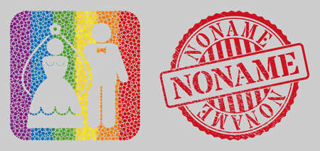 Scratched Noname stamp seal and mosaic newlyweds subtracted for LGBT. Dotted rounded rectangle mosaic is around newlyweds carved shape. LGBT spectrum colors. Vektoros illusztráció