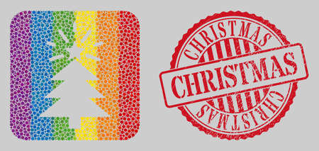 Scratched Christmas stamp seal and mosaic shine Christmas tree hole for LGBT. Dotted rounded rectangle mosaic is around shine Christmas tree subtracted shape. LGBT spectrum colors. Vector Illustration