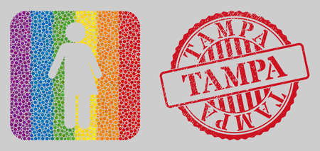 Grunge Tampa stamp seal and mosaic third gender stencil for LGBT. Dotted rounded rectangle mosaic is around third gender stencil. LGBT rainbow colors. Red rounded grunge seal with Tampa phrase.