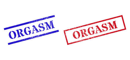 Grunge ORGASM stamp seals in red and blue colors. Seals have draft style. Vector rubber imitations with ORGASM text inside rectangle frame, or parallel lines. Design style imitates grunge surface.