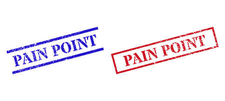 Grunge PAIN POINT stamp seals in red and blue colors. Stamps have rubber style. Vector rubber imitations with PAIN POINT badge inside rectangle frame, or parallel lines.